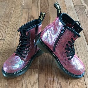 Dr. Martens girls pink sparkly boots shoes 1
